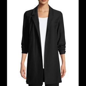NWT Size S Eileen Fisher Black Notch Collar Jacket